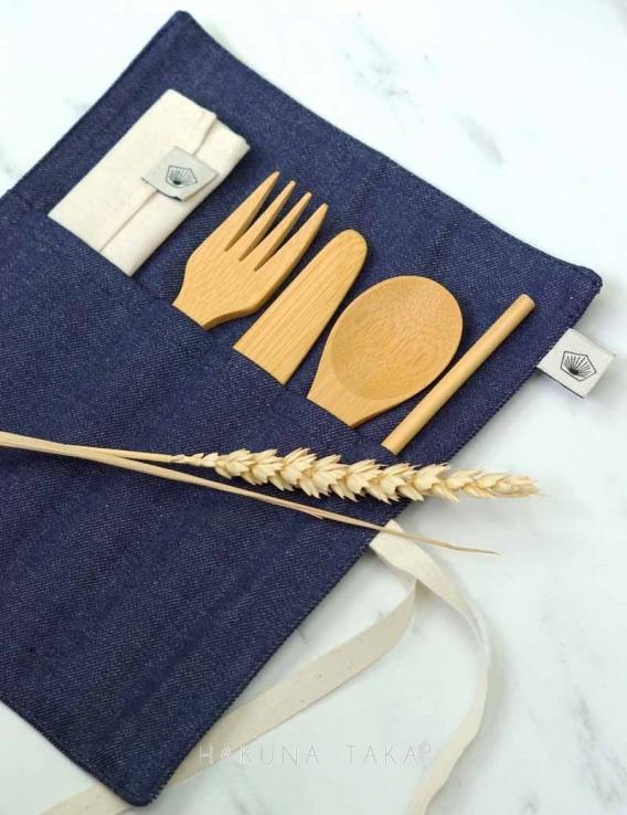kit pique nique couverts en bambou