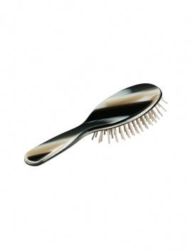 Brosse à cheveux ovale coton & bois - noir et jaune