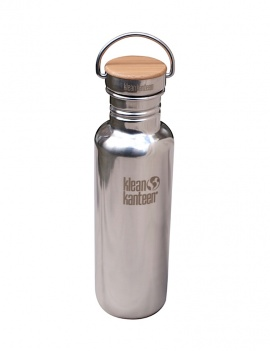 Gourde 800ml inox brillant & bambou