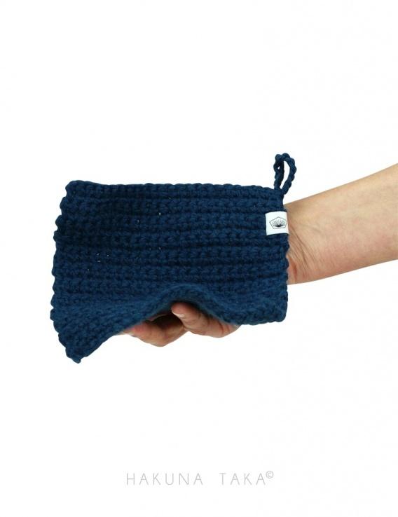 Lavette en crochet - bleu marine