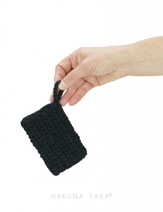 Eponge en crochet - noir