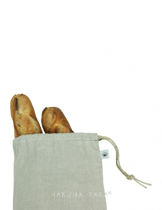 Sac à pain en lin bio - format baguette