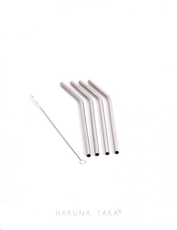 Pailles inox courtes x4 + Goupillon