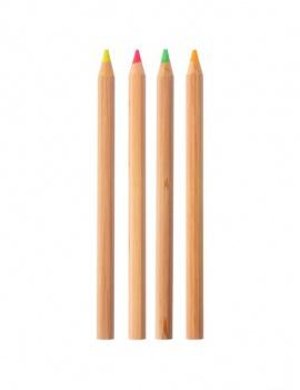 Surligneur fluo en bois - Lot de 4