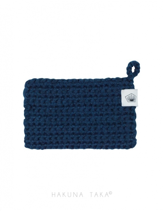 Eponge en crochet - bleu marine