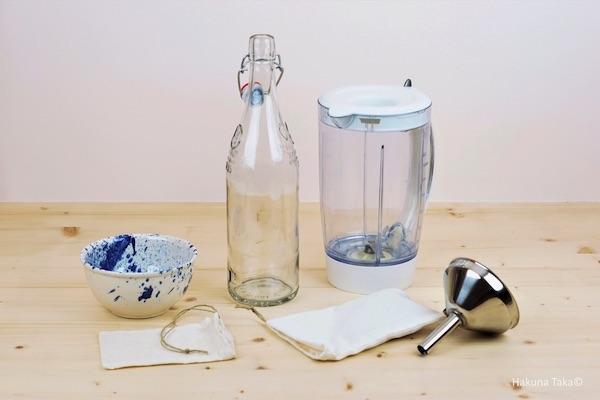Recette lait d'amande ustensiles